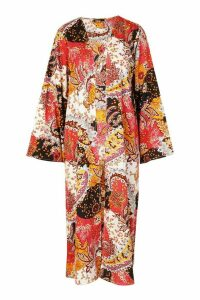 Womens Paisley Long Sleeve Maxi Kimono - Pink - M, Pink