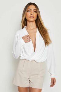 Womens Woven Wrap Blouse - white - 12, White