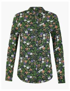 M&S Collection Cotton Rich Floral Print Shirt