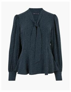 M&S Collection Polka Dot Pussybow Blouse