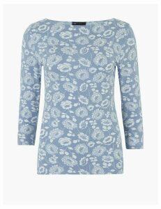 M&S Collection Cotton Rich Floral Slash Neck Fitted T-Shirt