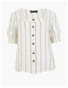 M&S Collection Pure Linen Striped Square Neck Blouse