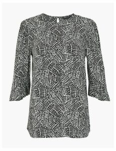 M&S Collection Geometric Print 3/4 Sleeve Blouse