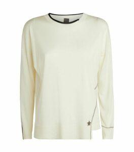 Star Appliqué Wool-Silk Sweater