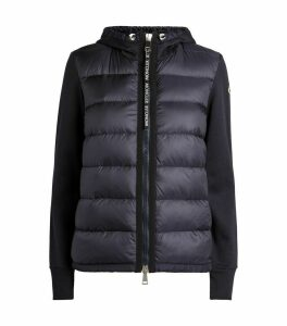 Quilted Zip-Up Hooded Cardigan