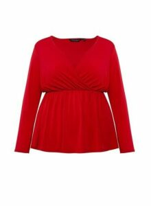 Womens Dp Curve Red Wrap Top, Red