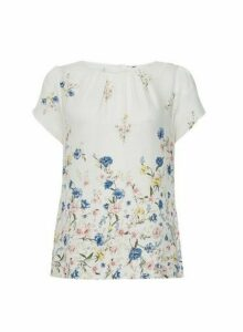 Womens Billie & Blossom Ivory Floral Border Shell Top - White, White