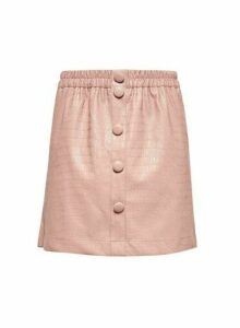 Womens Lola Skye Blush Crocodile Design Skirt - Pink, Pink