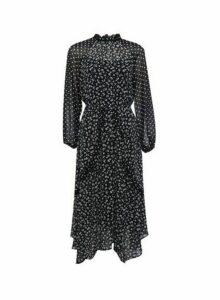 Womens Dp Petite Black And White Mix And Match Print Ruffle Skater Dress, Black