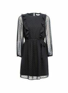 Womens Dp Petite Black Dobby Ruffle Fit And Flare Dress, Black