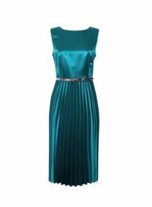 Womens Luxe Jade Satin Pleat Skater Dress - Blue, Blue