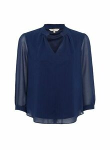 Womens Billie & Blossom Petite Navy Plain Long Sleeve Blouse - Blue, Blue