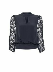 Womens Black Lace Sleeve Shirred Hem Top, Black