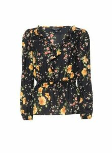 Womens Black Floral Print Long Sleeve Top, Black