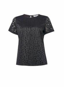 Womens Petite Black Lace Fitted T-Shirt, Black