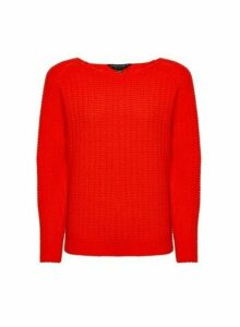 Womens Red Textured Jumper, Red