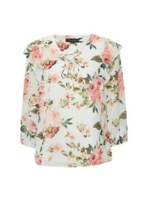 Womens Ivory Floral Print 3/4 Sleeve Top - White, White