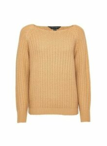 Womens Camel Textured Wide Neck Jumper - White, White
