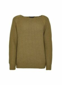 Womens Khaki Textured Wide Neck Jumper, Khaki