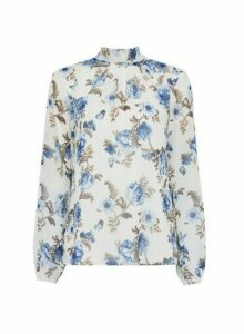 Womens Ivory Floral Chiffon Tie Neck Top- White, White
