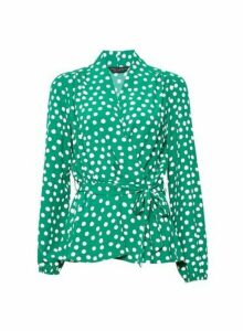 Womens Green Spot Print Wrap Top, Green