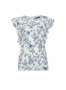 Womens Multi Colour Floral Print Ruffle Top- White, White