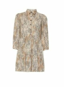 Womens Multi Colour Leopard Print Tunic Shirt- Black, Black