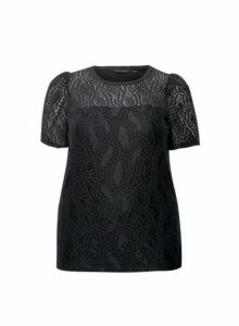 Womens **Dp Curve Black Lace Top, Black