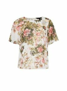 Womens Ivory Sequin Floral Print T-Shirt, Ivory