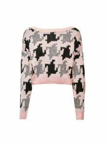 Womens Lola Skye Houndstooth Jumper - Pink, Pink