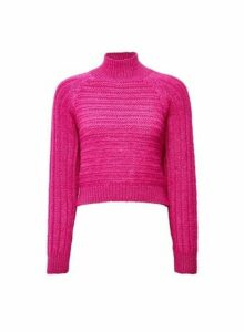Womens **Lola Skye Pink High Neck Chunky Jumper, Pink