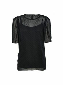Womens Black Dobby Puff Sleeve Top, Black