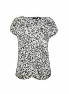 Womens Monochorme Print Twist Hem Top- Multi Colour, Multi Colour