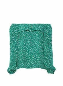 Womens Green Square Neck Bardot Top, Green