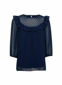 Womens Navy Ruffle Dobby Top - Blue, Blue