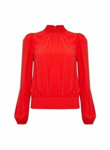 Womens Red Elastic Back Long Sleeve Top, Red