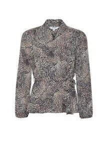 Womens Petite Multi Colour Animal Print Top- Black, Black