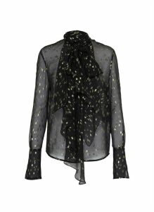 Jabot detail metallic print sheer blouse