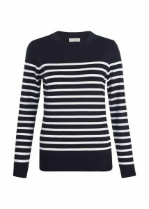 Striped Penny Merino Wool Sweater Navy Ivory