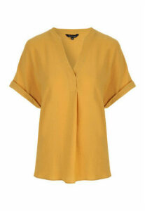 Womens Mustard V-Neck Top