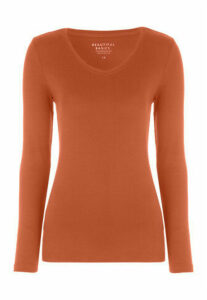 Womens Ginger V-Neck Long Sleeve Top