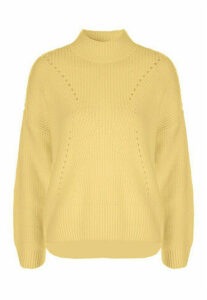 Womens Yellow Turtle Neck Jumper