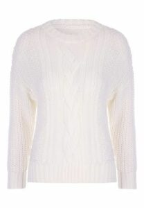 Womens White Cable Knit Chunky Jumper