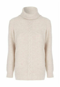 Womens Cream Roll Neck Cable Jumper