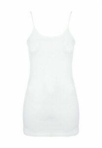 Womens White Strappy Longline Cami Vest Top