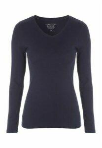 Womens Navy V-Neck Long Sleeve T-Shirt