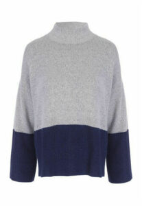 Womens Blue Grey Colour Block Jumper