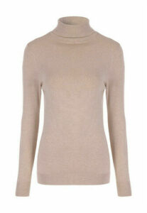 Womens Camel Roll Neck Jumper