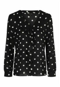 Womens Black Polka Dot Ruffle Blouse