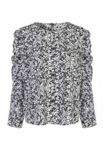 Womens Black Floral Ruffle Sleeve Blouse